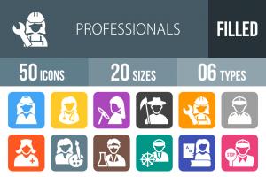 50 Professionals Flat Round Corner Icons - Overview - IconBunny