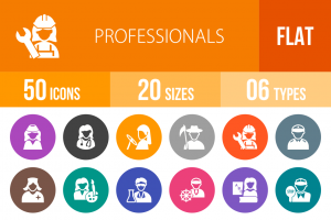 50 Professionals Flat Round Icons - Overview - IconBunny