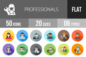 50 Professionals Flat Shadowed Icons - Overview - IconBunny