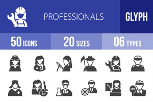 50 Professionals Glyph Icons - Overview - IconBunny