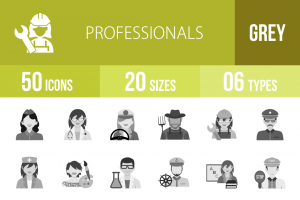 50 Professionals Greyscale Icons - Overview - IconBunny