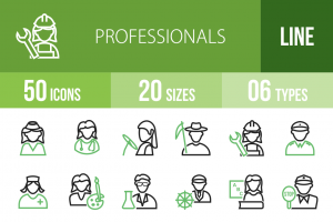 50 Professionals Line Green & Black Icons - Overview - IconBunny