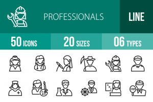 50 Professionals Line Icons - Overview - IconBunny