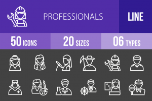 50 Professionals Line Inverted Icons - Overview - IconBunny