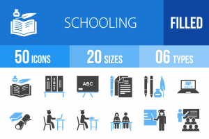50 Schooling Blue Black Icons - Overview - IconBunny