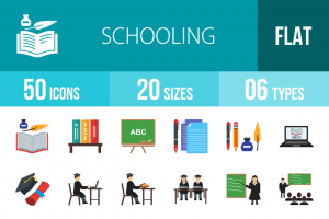 50 Schooling Flat Multicolor Icons - Overview - IconBunny