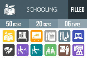 50 Schooling Flat Round Corner Icons - Overview - IconBunny