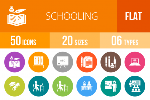 50 Schooling Flat Round Icons - Overview - IconBunny
