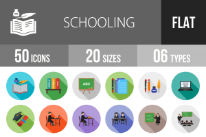 50 Schooling Flat Shadowed Icons - Overview - IconBunny