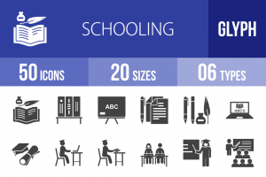 50 Schooling Glyph Icons - Overview - IconBunny