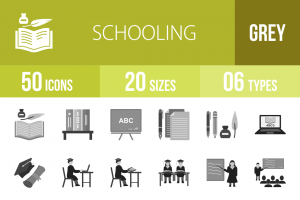 50 Schooling Greyscale Icons - Overview - IconBunny