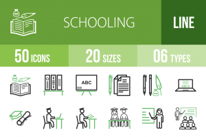 50 Schooling Line Green Black Icons - Overview - IconBunny