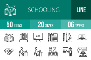 50 Schooling Line Icons - Overview - IconBunny