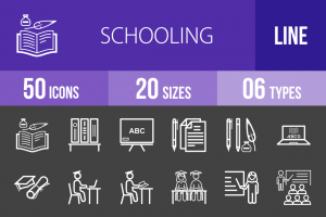 50 Schooling Line Inverted Icons - Overview - IconBunny