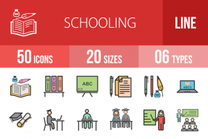 50 Schooling Line Multicolor Filled Icons - Overview - IconBunny