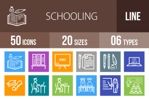 50 Schooling Line Multicolor B/G Icons - Overview - IconBunny