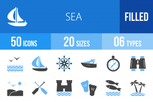 50 Sea Blue Black Icons - Overview - IconBunny