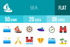 50 Sea Flat Multicolor Icons - Overview - IconBunny