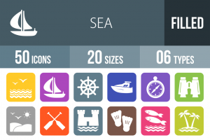 50 Sea Flat Round Corner Icons - Overview - IconBunny