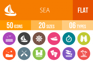 50 Sea Flat Round Icons - Overview - IconBunny