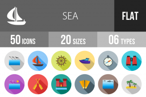 50 Sea Flat Shadowed Icons - Overview - IconBunny