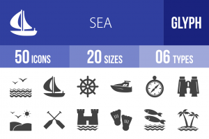 50 Sea Glyph Icons - Overview - IconBunny