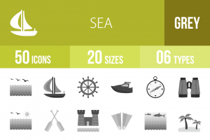 50 Sea Greyscale Icons - Overview - IconBunny