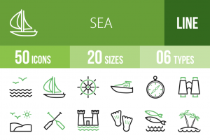 50 Sea Line Green Black Icons - Overview - IconBunny
