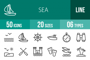 50 Sea Line Icons - Overview - IconBunny