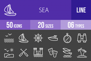 50 Sea Line Inverted Icons - Overview - IconBunny