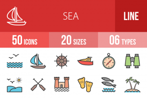 50 Sea Line Multicolor Filled Icons - Overview - IconBunny