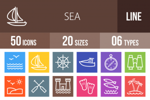 50 Sea Line Multicolor B/G Icons - Overview - IconBunny