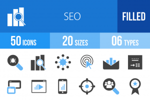 50 SEO Blue & Black Icons - Overview - IconBunny