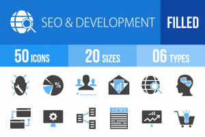 50 SEO & Development Blue Black Icons - Overview - IconBunny