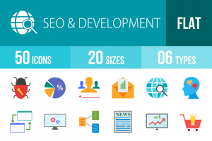 50 SEO & Development Flat Multicolor Icons - Overview - IconBunny