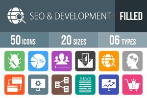 50 SEO & Development Flat Round Corner Icons - Overview - IconBunny