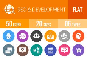 50 SEO & Development Flat Round Icons - Overview - IconBunny