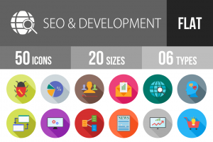 50 SEO & Development Flat Shadowed Icons - Overview - IconBunny