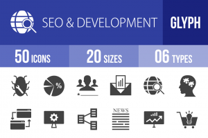 50 SEO & Development Glyph Icons - Overview - IconBunny