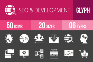 50 SEO & Development Glyph Inverted Icons - Overview - IconBunny