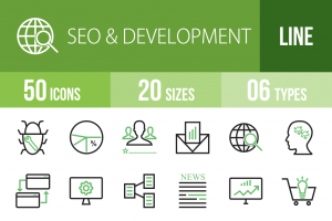 50 SEO & Development Line Green Black Icons - Overview - IconBunny
