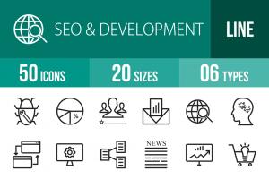 50 SEO & Development Line Icons - Overview - IconBunny