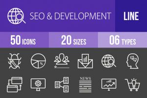 50 SEO & Development Line Inverted Icons - Overview - IconBunny