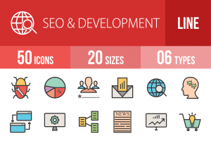 50 SEO & Development Line Multicolor Filled Icons - Overview - IconBunny