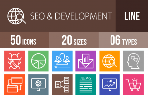 50 SEO & Development Line Multicolor B/G Icons - Overview - IconBunny