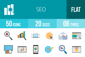 50 SEO Flat Multicolor Icons - Overview - IconBunny
