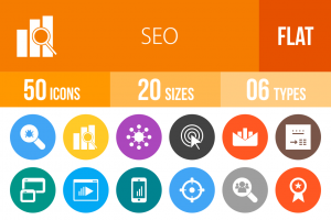 50 SEO Flat Round Icons - Overview - IconBunny