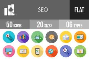 50 SEO Flat Shadowed Icons - Overview - IconBunny