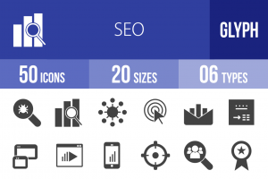 50 SEO Glyph Icons - Overview - IconBunny