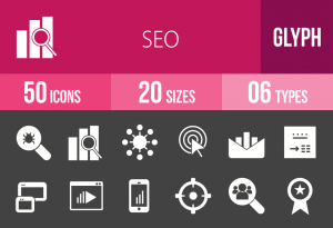 50 SEO Glyph Inverted Icons - Overview - IconBunny